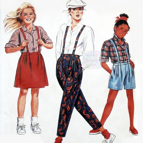 Girls,Suspender,Separates,1980s,Pattern.,Pants,Shorts,Skirt,Blouse.,sewinghappyplace, Sewing Pattern, Vintage