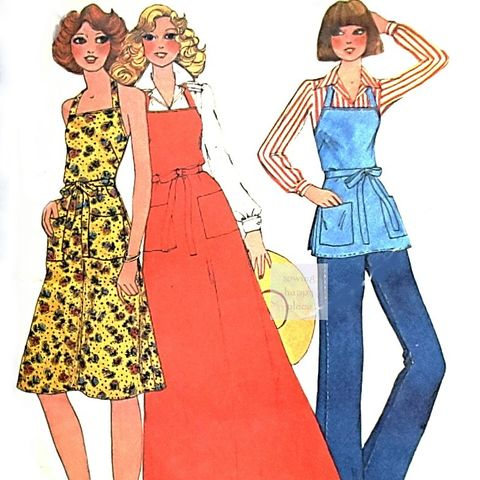 Back,Wrap,Apron-Dress,1970s,Pattern.,Backless,Sundress.,Bare,Shoulders.,sewinghappyplace, Sewing Pattern, Vintage