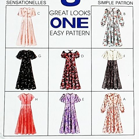 Girls,Empire,Waist,Dress,w,Variations,1990s,Pattern.,Button,Front,Bodice.,Sleeve,Options.,sewinghappyplace, Sewing Pattern, Vintage