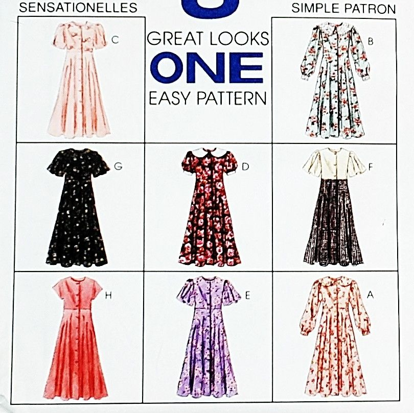 Girls Empire Waist Dress w Variations 1990s Pattern. Button Front Bodice. Sleeve Options. - product images  of