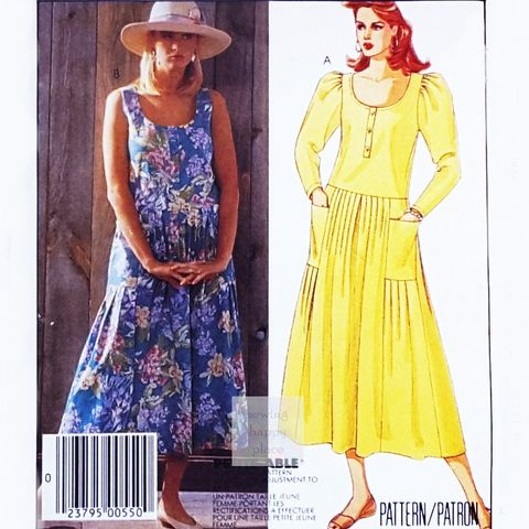 Drop,Waist,Sundress,Dress,1980s,Pattern.,Scooped,Neckline.,Designer,Laura,Ashley.,sewinghappyplace, Sewing Pattern, Vintage