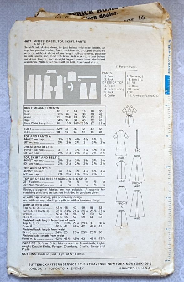 A Line Dress or Tunic 1970s Pattern. Elbow Length Rolled Sleeves. Skirt, Pants. - product images  of
