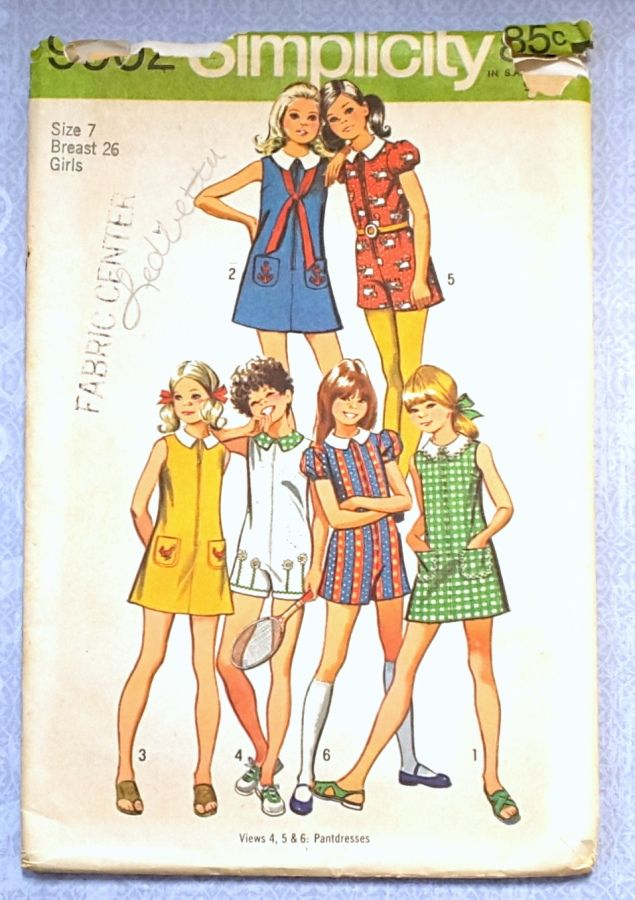 Girls A line Dress or Romper 1970s Pattern. Sleeve and Collar Options. - product images  of