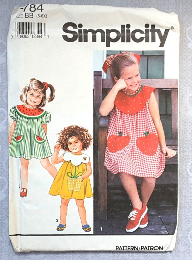 Toddler Girls Whimsical Dress 1990s Pattern. Collar and Pocket Variations. Strawberry, Daisy, Watermelon. - product images  of