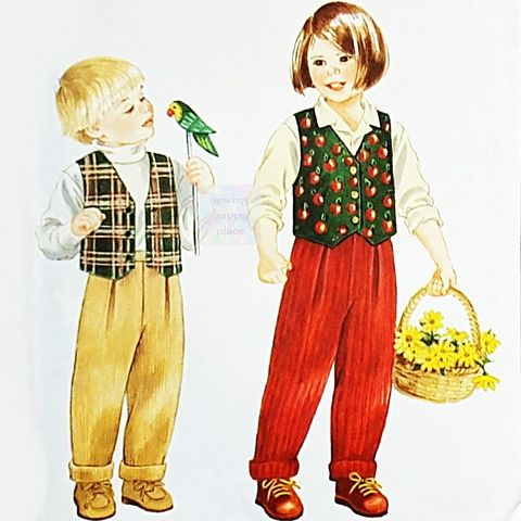 Toddler,Girls,Boys,Lined,Vest,1990s,Pattern.,Pleated,Pants,w,Rolled,Cuffs.,Cool,Weather,Play,Clothes.,Unisex.,sewinghappyplace, Sewing Pattern, Vintage