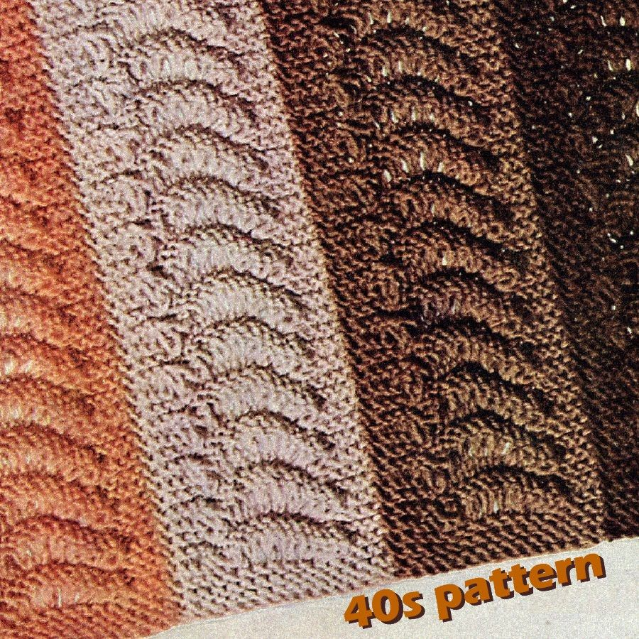 Knitting Pattern - Vtg 40s Afghan Pattern Knit in Strips Falmouth Repeating Wave Theme - PDF or Printed and Mailed - product images  of