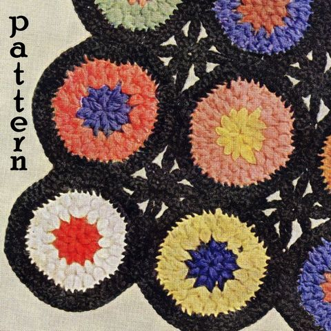 Pattern,-,Aurora,Grandmothers,Flowers,Afghan,Pattern.,Vintage,1940s,crochet,like,granny,square,PDF,or,Printed,and,Mailed, 1940s, afghan pattern, round medallions, Bean Stitch, Yarn Play, Stash Buster, Scrap Yarn, Crochet afghan, Aurora Grandmothers Flowers, pdf printable pattern, tutorial, grandma afghan, classic grandmother afghan, sewinghappyplace, sewing happy p