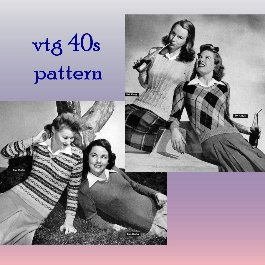 Pattern - Sweater Girls WW2 Vneck PDF knitting pattern 1944 Swing Era Starlet Pinup Pullovers- PDF or Printed and Mailed - product images  of
