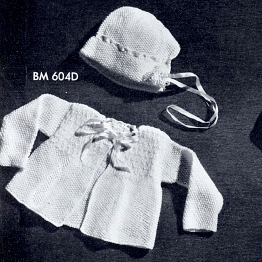 Pattern - Vintage 40s Baby Knitwear Layette Items, hats, sweaters, blanket Knitting - PDF or Printed and Mailed - product images  of