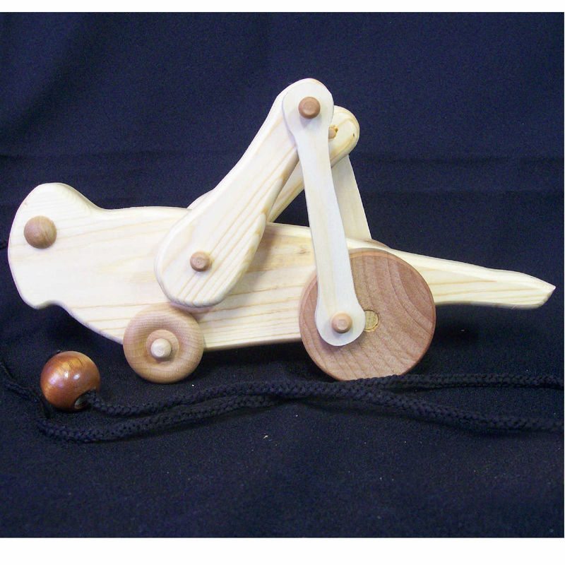 Handmade wooden animated grasshopper pull toy - product images of