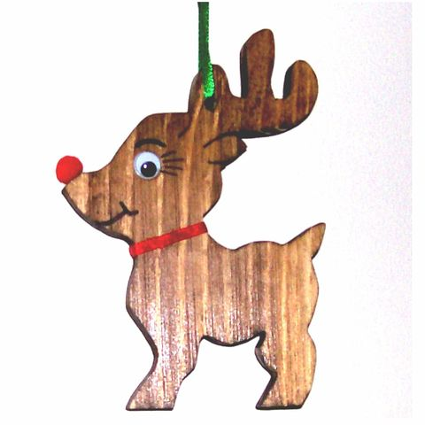 Reindeer,Christmas,ornament,wood,holidays,christmas,decoration,reindeer,rudolph,tree_ornament,sswoodcraft,pine,walnut_stain,ribbon,plastic_eyes,pom_pom