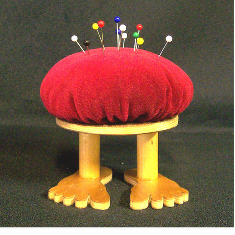 Pin,cushion,,flat,footed,,red,velvet-like,fabric,and,wood,Needlecraft, Pincushion, Novelty, Woodworking, handmade, Needlecraft, pincushion, sewing, quilting, sewing_supplies, seamstress, novelty, gag_gift, velvet, wood,  velvet