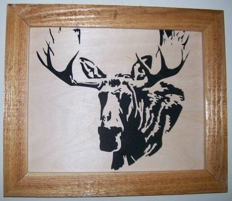 Bull,moose,in,wood,scroll,saw,picture,woodworking,fretwork,home_decor,wall_hanging,portrait,woodcut,wildlife,animal,bull_moose,trophy,birch,cedar,felt