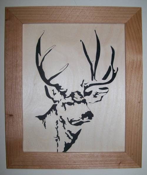 Mule deer in wood scroll saw portrait - product images