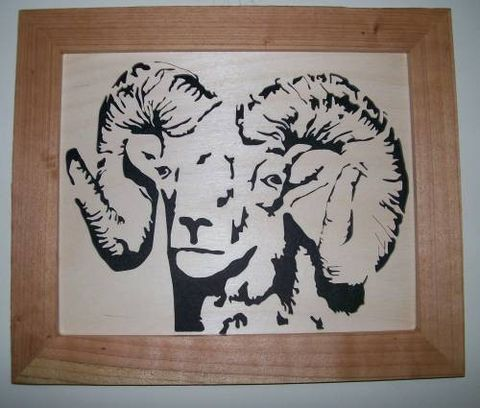 Bighorn,sheep,in,wood,scroll,saw,portrait,woodworking,fretwork,wall_hanging,frame,art,felted,birch,cedar,felt