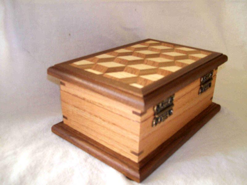 Jewelry box mosaic walnut oak ash SS Woodcraft