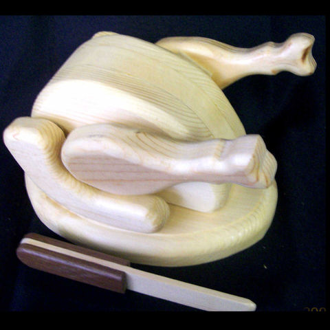 Wooden,toy,turkey,or,chicken,,Pine,Poultry,Toys, Children, Food, wood, chicken, turkey, platter, knife, roast_chicken, turkey_dinner, carving_knife, pretend, waldorf,  pine