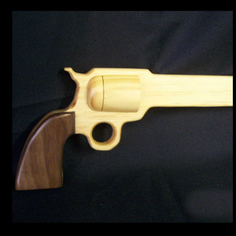 Gun cane Colt 45 wooden revolver pistol shaped walking stick - product images  of