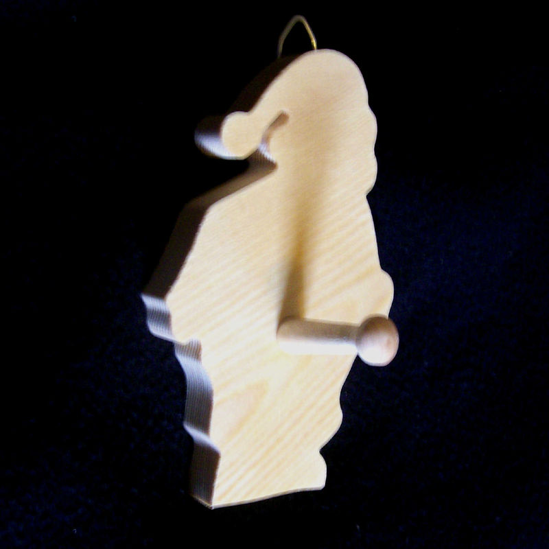 Santa wood Christmas stocking hanger.  Hang your stocking on this - product images  of