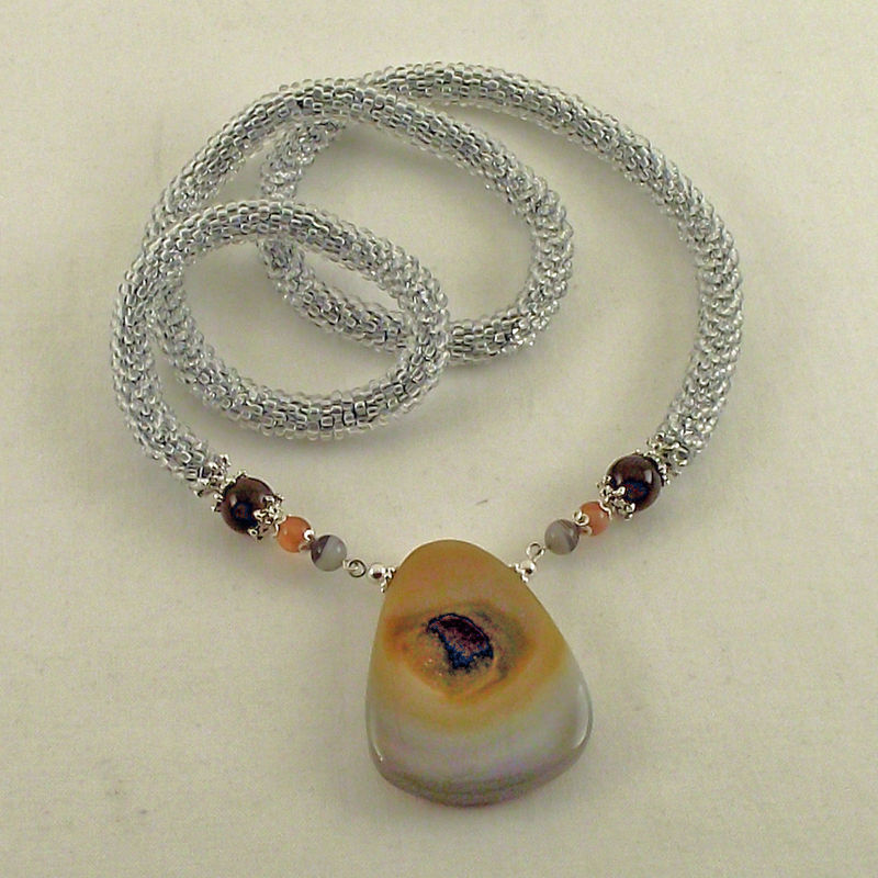 Crocheting Necklaces With Beads : Bead Crochet Crocheted Bead Rope Necklace Agate Druzy Pendant - Judy ...