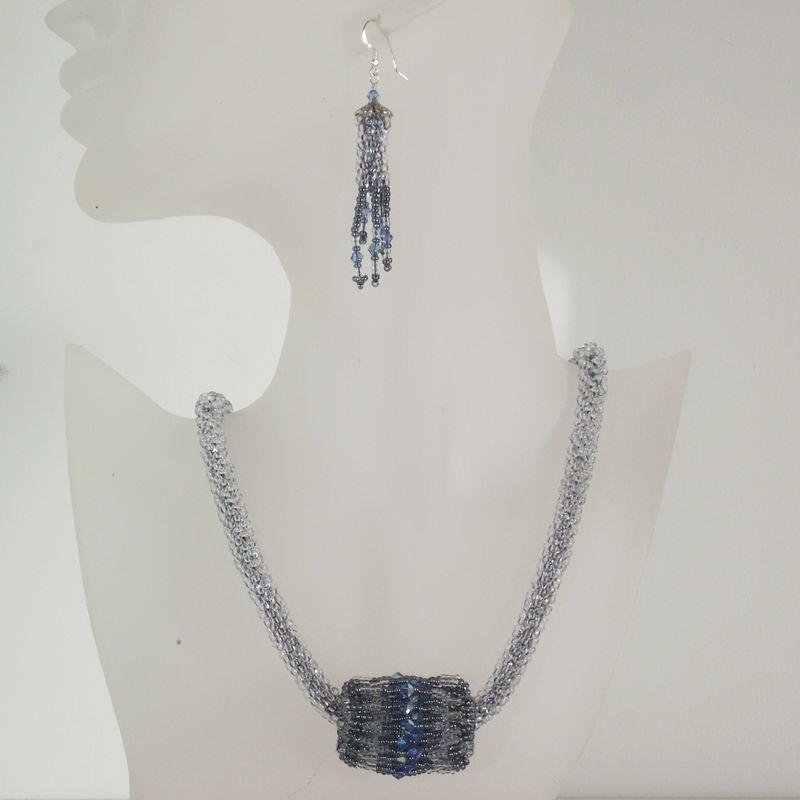Seed Bead Crochet Rope Beadwoven Pendant Swarovski Crystal