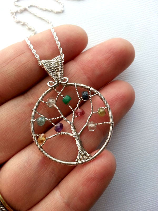 Custom Birthstone Necklace Mother S Family Tree Necklace
