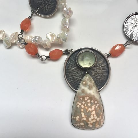 Guardian,1,-,Ocean,Jasper,,Prehnite,,Carnelian,and,Keishi,Pearl,Necklace,ocean jasper, sterling silver, hand forged jewelry, carnelian, keishi pearls, prehnite, phrenite, ooak, artisan jewelry, angel jewelry, guardian jewelry, handmade jewelry, one of a kind necklace
