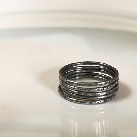 Slim,Stacking,Ring,Set,-,Eco,Friendly,Sterling,Silver,Rings,ring, sterling silver, sterling silver ring, tree bark ring, stacking rings, hand textured rings