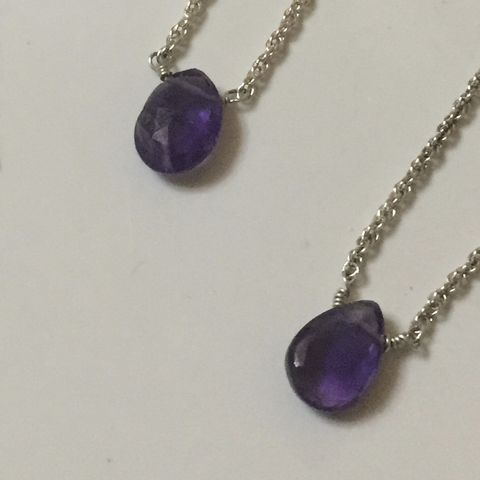Amethyst,Teardrop,Necklace,amethyst, amethyst necklace, gemstone necklace, February necklace