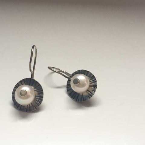 Radiant,Pearl,Earrings,pearl earrings, sterling silver earrings, modern pearl jewelry, recycled silver earrings