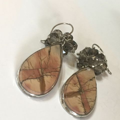 Cherry,Creek,Jasper,Earrings,with,Smokey,Quartz,cherry creek jasper, jasper earrings, jasper and sterling earrings, handmade earrings, desert color earrings