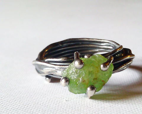 Raw,Peridot,Ring,,Oxidized,Sterling,Silver,,Rough,Green,Gemstone,Jewelry,Ring,rough_peridot,raw_peridot,green_peridot,sterling_silver,rustic_silver_ring,prong_set_gemstone,prong_set_peridot,raw_peridot_ring,oxidized,august_birthstone,organic_silver_ring,recycled_silver,recycled argentium sterling silver,rough