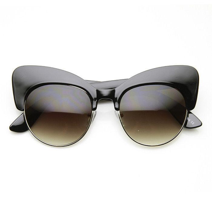 Retro Oversize Half Frame Cat Eye Sunglasses - Crylittle ...