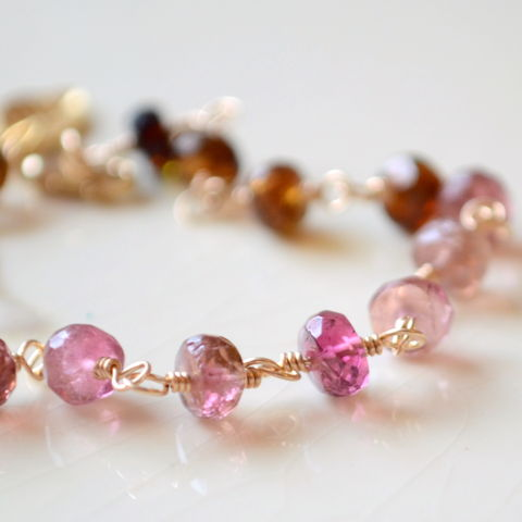 Tourmaline,Gemstone,Bracelet,Multicolor,Gold,Jewelry,jewelry, jewellery, handmade, wire wrapped, bracelet, gold, gold filled, vermeil, tourmaline, gemstone, genuine, semiprecious, pink, brown, multicolor, natural