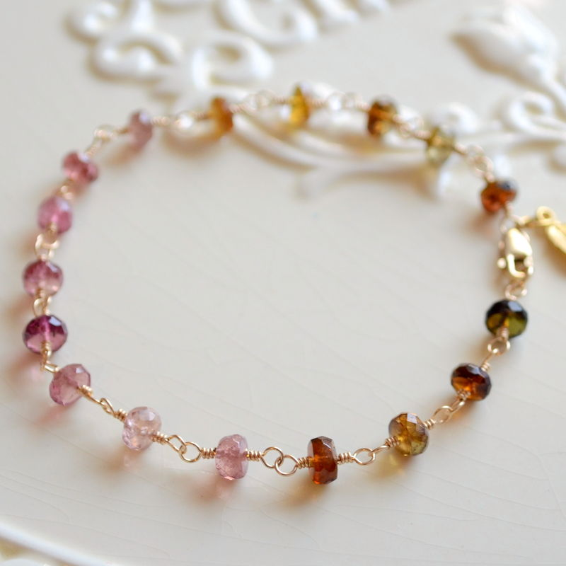 Tourmaline Gemstone Bracelet Multicolor Gold Jewelry - product images  of