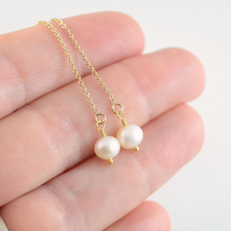 Round Pearl Threader Earrings in Gold - product images  of
