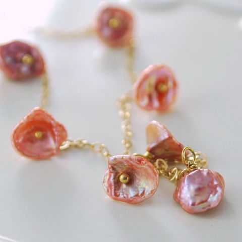 Pearl,Anklet,Copper,Rose,Keishi,on,Gold,Jewelry,Chain,gold_filled,peach,elegant,gemstone,precious,keishi,freshwater_pearl,songea_sapphire,lightweight,pretty,copper_rose,feminine,flirty,keishi_freshwater_pearl,sapphire,gold_fill
