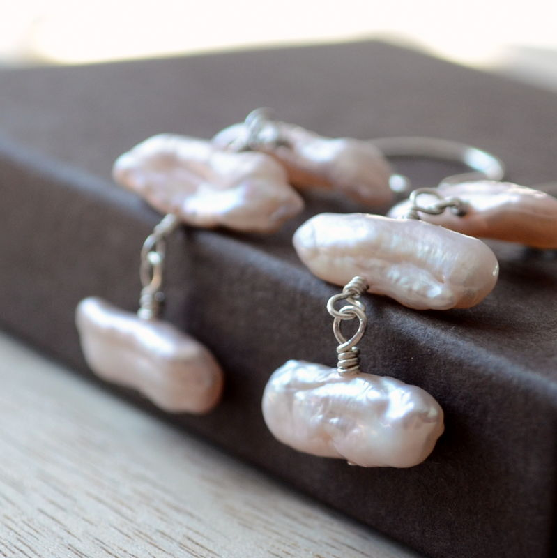Biwa Pearl Earrings Pink Pearl Trio in Silver - product images  of