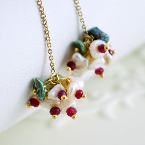 Ruby,Earrings,Keishi,Pearls,Gold,Jewelry,-,Christmas,Blossoms,Wire_Wrapped,ruby_earrings,ruby,ruby_jewelry,keishi_pearl,freshwater,threaders,threader_earrings,ruby_threaders,gemstone,gemstone_earrings,Christmas_jewelry,Christmas_earrings,holiday_jewelry,freshwater_keishi_pearl,gold_fill