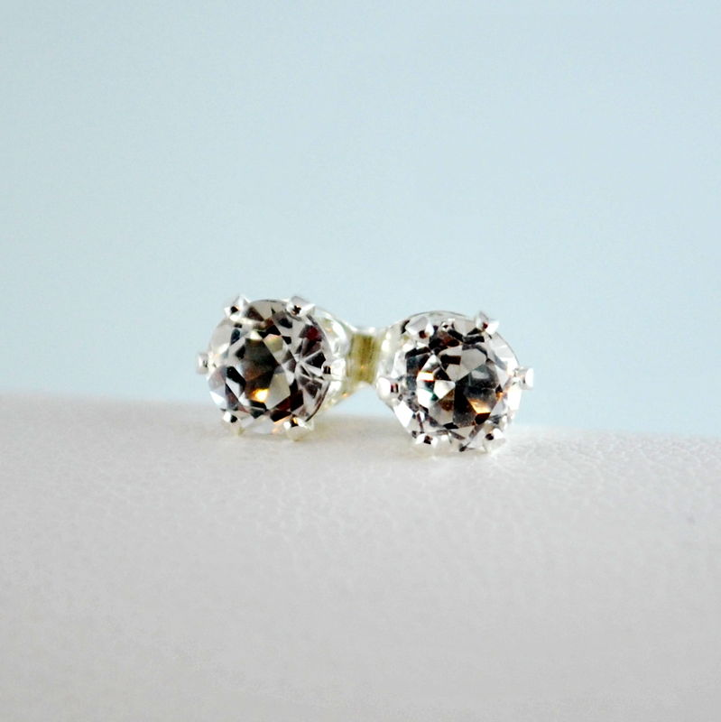 White Topaz Stud Earrings In Sterling Silver Product Images Of