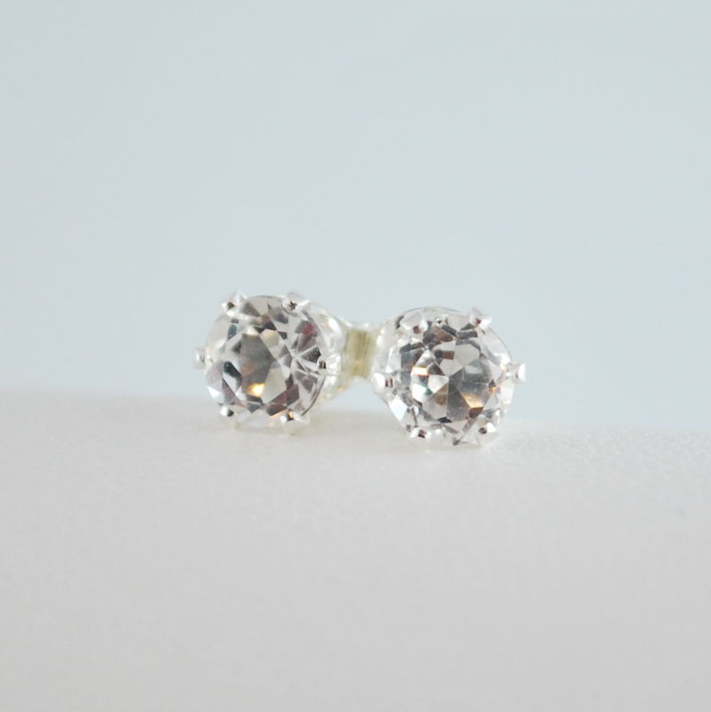 White Topaz Stud Earrings in Sterling Silver - product images  of