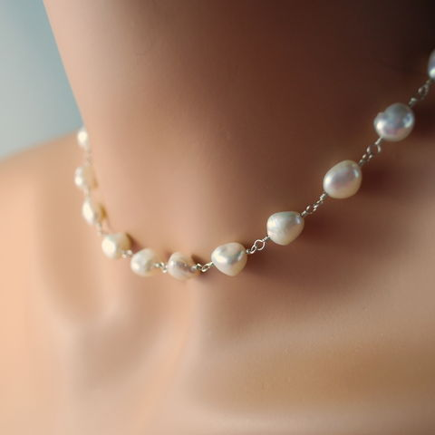 White,Keishi,Pearl,Necklace,in,Sterling,Silver,keishi pearl, necklace, white, keshi pearl, freshwater, sterling silver, choker, elegant, bridal, wedding, simple