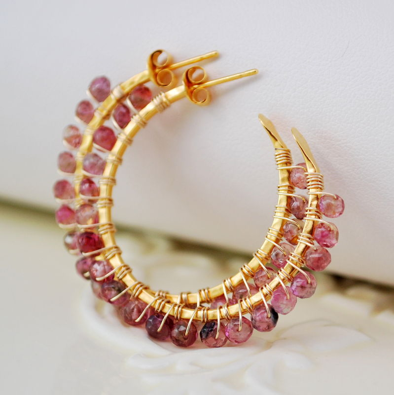 Tourmaline Hoop Earrings in Gold - product images  of