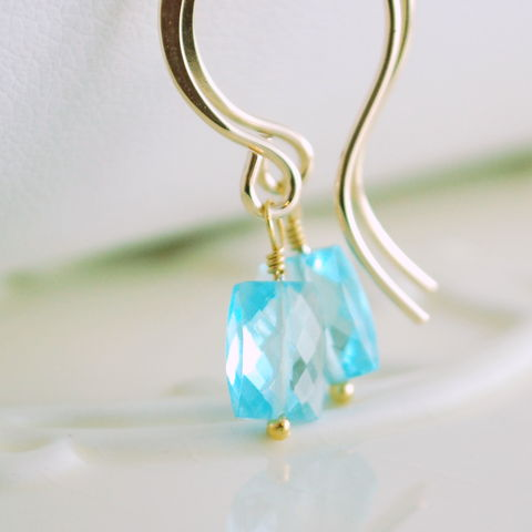 Bright,Blue,Topaz,Simple,Earrings,in,Gold,blue topaz, gemstone, earrings, gold, gold filled, simple, aaa, rectangle, December, birthstone, jewelry