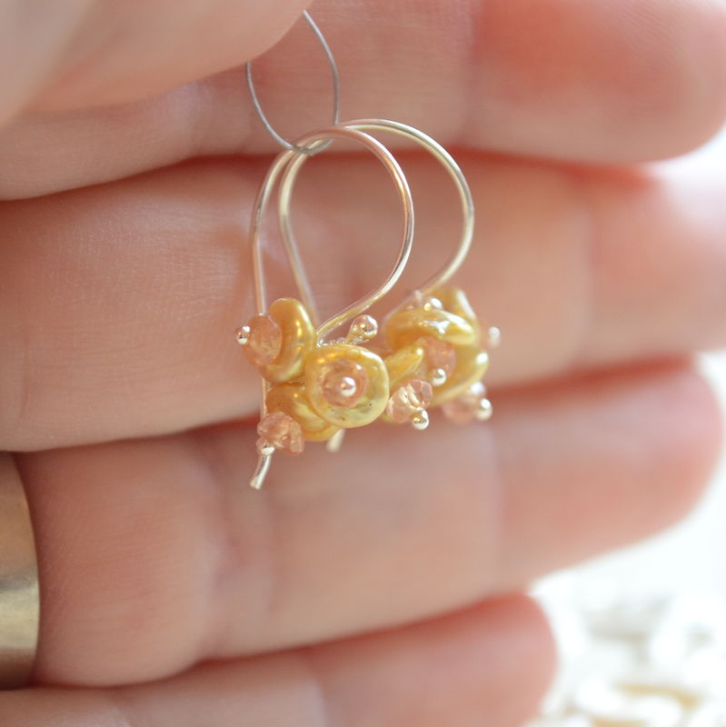 Gold Keishi Pearl Flower Blossom Earrings in Sterling Silver  - product images  of