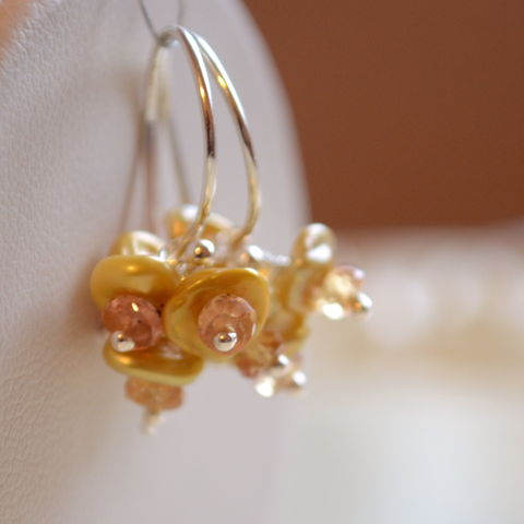 Gold,Keishi,Pearl,Flower,Blossom,Earrings,in,Sterling,Silver,keishi, keshi, pearl, earrings, sterling, silver, flower, blossoms, floral, freshwater, orange, sapphire, yellow, jewelry