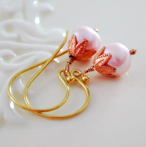 Pink,Pearl,Earrings,in,Mixed,Metals,pink, pearl, earrings, mixed, metal, gold, freshwater, jewelry