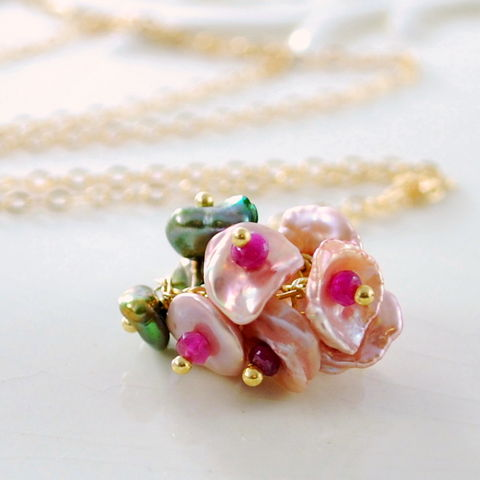 Pink,Flower,Blossom,Necklace,with,Ruby,in,Gold,Jewelry,Wire_Wrapped,freshwater_pearl,gold_filled,blossom,gemstone,genuine,floral,jewellery,keishi,ruby,pink,pearl_necklace,pink_necklace,keshi,keishi_cornflake_pearl,gold_fill
