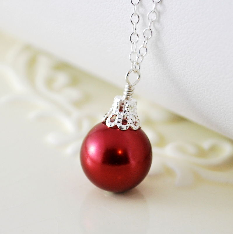 Red christmas ornament necklace in sterling silver for Sterling silver christmas jewelry