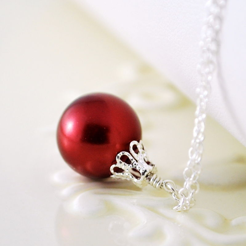 Red Christmas Ornament Necklace in Sterling Silver - product images  of